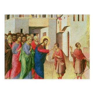 Jesús abre los ojos de una persiana nacida hombre, postales