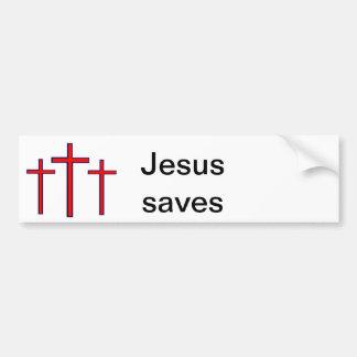Jesús ahorra a la pegatina para el parachoques pegatina para auto