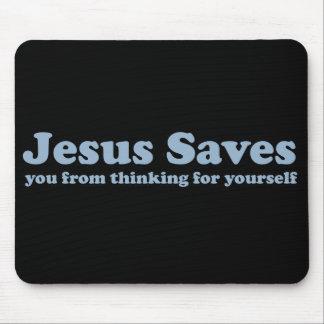 Jesús ahorra al ateo de la sátira tapetes de ratón