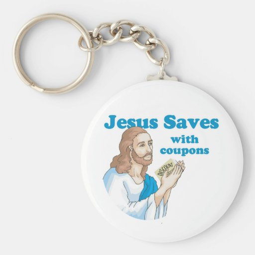 Jesús ahorra con las cupones llavero redondo tipo pin