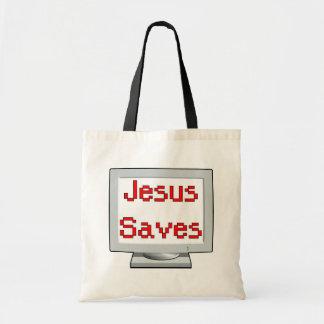 Jesús ahorra en la pantalla de ordenador bolsa tela barata