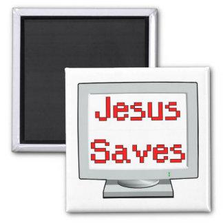 Jesús ahorra en la pantalla de ordenador imanes