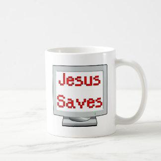 Jesús ahorra en la pantalla de ordenador tazas de café