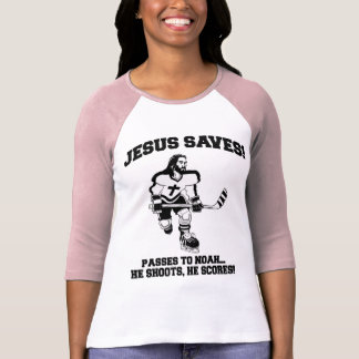 Jesús ahorra la camiseta divertida del hockey