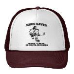 Jesús ahorra la camiseta divertida del hockey gorro