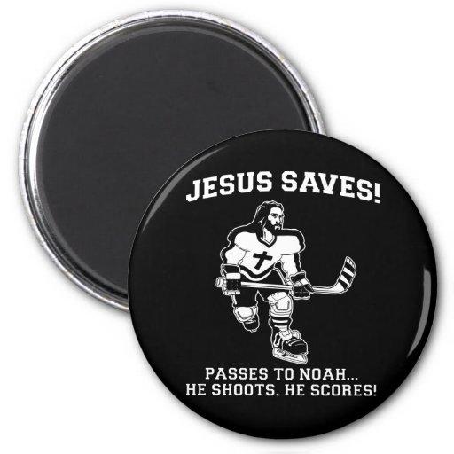 Jesús ahorra la camiseta divertida del hockey imán