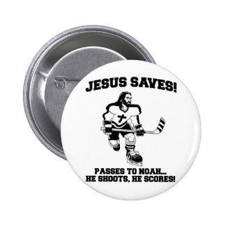 Jesús ahorra la camiseta divertida del hockey pin redondo 5 cm