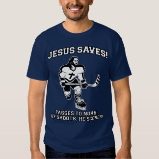 Jesús ahorra la camiseta divertida del hockey playeras