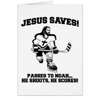 Jesús ahorra la camiseta divertida del hockey felicitación