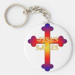 Jesús ahorra la cruz llaveros personalizados