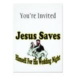 Jesús ahorra noche de boda invitación 12,7 x 17,8 cm