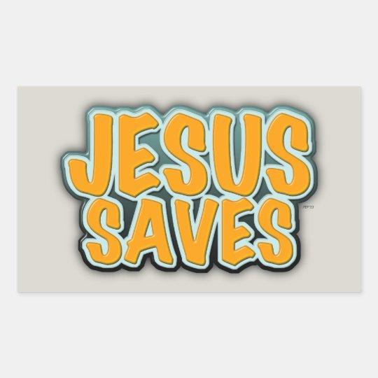 Jesús ahorra pegatina rectangular