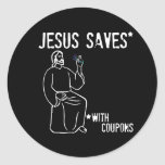 Jesús ahorra pegatina redonda