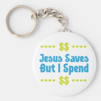 Jesús ahorra pero paso llavero redondo tipo pin