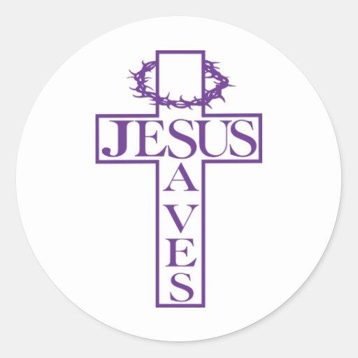 Jesús ahorra púrpura pegatina redonda