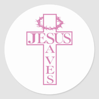 Jesús ahorra suavemente rosa pegatina redonda