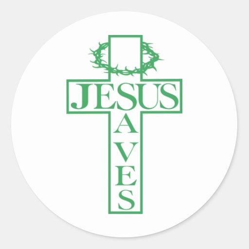Jesús ahorra verde pegatina redonda
