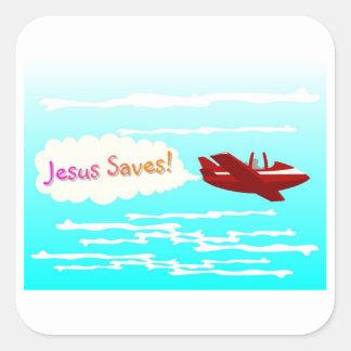 Jesús ahorra y aeroplano en nubes pegatina cuadrada