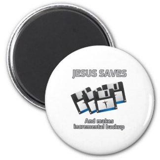 Jesús ahorra y los respaldos imán redondo 5 cm
