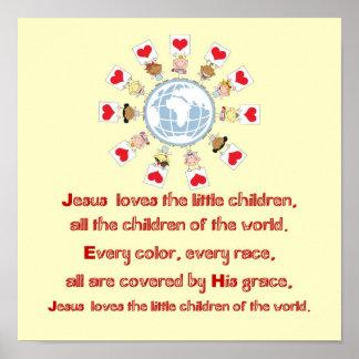 Jesús ama a los pequeños niños impresiones