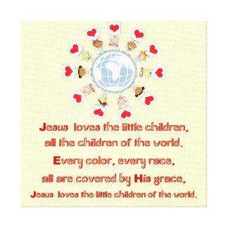 Jesús ama a los pequeños niños impresión en lona