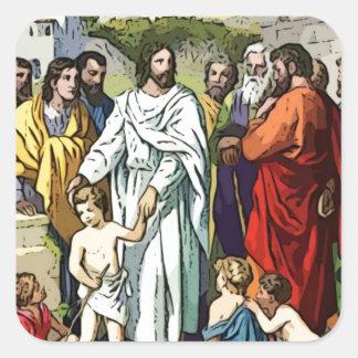 Jesús ama a los pequeños niños pegatina cuadrada