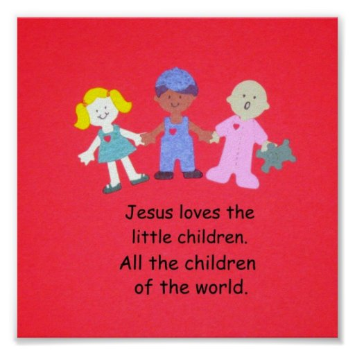 Jesús ama a los pequeños niños póster