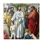 Jesús ama a los pequeños niños tejas  cerámicas