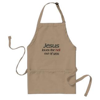 Jesús ama el infierno fuera de usted los delantal