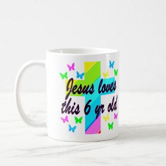 JESÚS AMA ESTO 6to CUMPLEAÑOS de 6 AÑOS Taza De Café