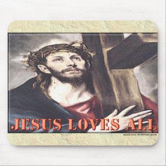 JESÚS AMA TODOS ALFOMBRILLA DE RATONES