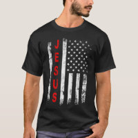 Jesus American Flag Vintage Stars Stripe Christian T-Shirt