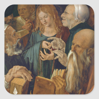 Jesus Among the Doctors by Albrecht Durer Square Stickers