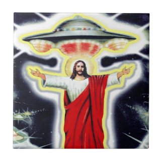 Jesus and a UFO Tile