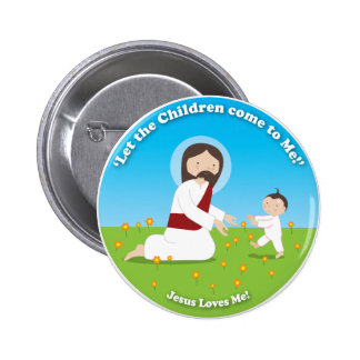 Jesus and Child Button