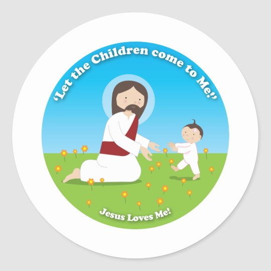 Jesus and Child Classic Round Sticker