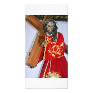 Jesus and Cross, Antigua Custom Photo Card