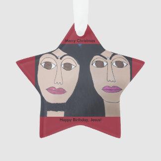 Jesus and Karyn, (blue bindis) Star Ornament