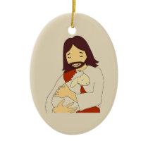 Jesus and Lamb Ceramic Ornament