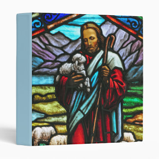 Jesus and lambs stained glass print binder
