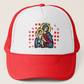 Jesus and Mary gloria, solid by christianstores. Trucker Hat