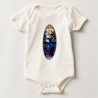 Jesus and Mary stained glass window Baby Bodysuit