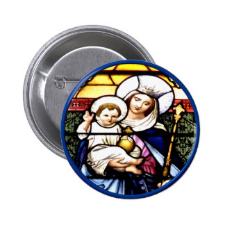 Jesus and Mary stained glass window Pins
