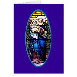 Jesus and Mary stained glass window Greeting Cards