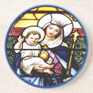Jesus and Mary stained glass window Beverage Coaster