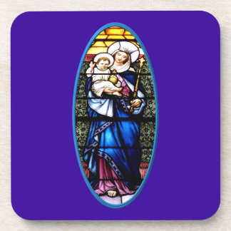 Jesus and Mary stained glass window Drink Coaster