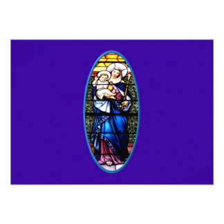 Jesus and Mary stained glass window Personalized Invitation