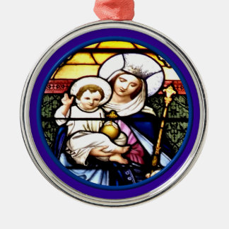 Jesus and Mary stained glass window Christmas Tree Ornaments