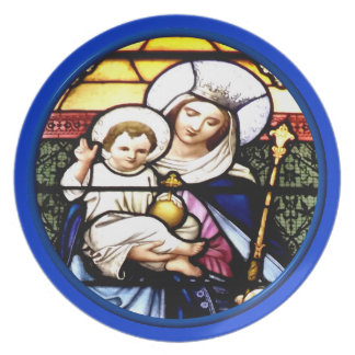Jesus and Mary stained glass window Plate
