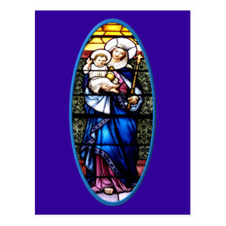 Jesus and Mary stained glass window Postcard